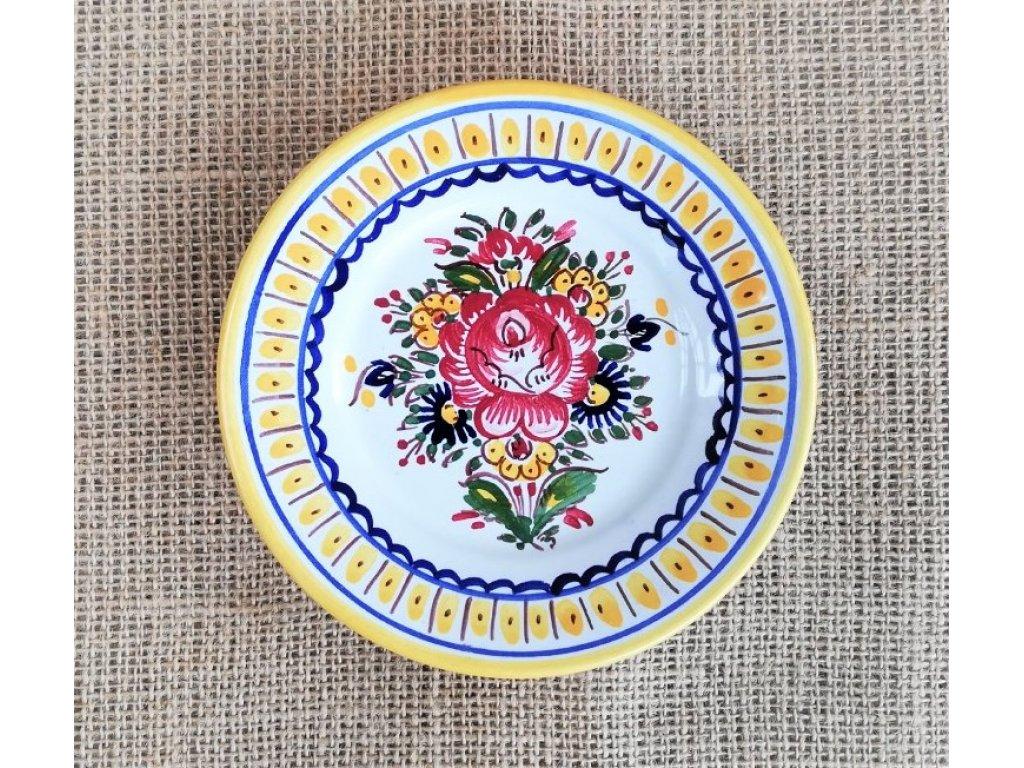 Keramický talíř žlutý okraj, slovácký