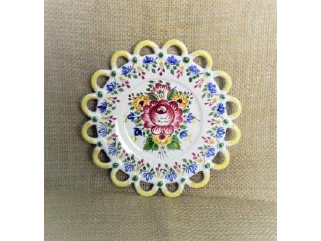 Keramický talířek - jedna krajka, slovácký