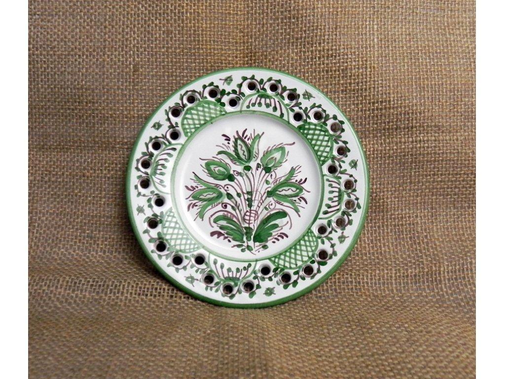 Keramický talířek malý - dírkový, zelenobílý