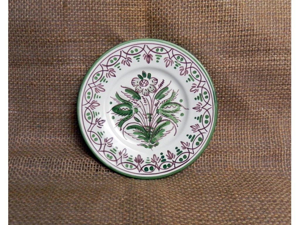 Keramický talířek malý, zeleno-bílý