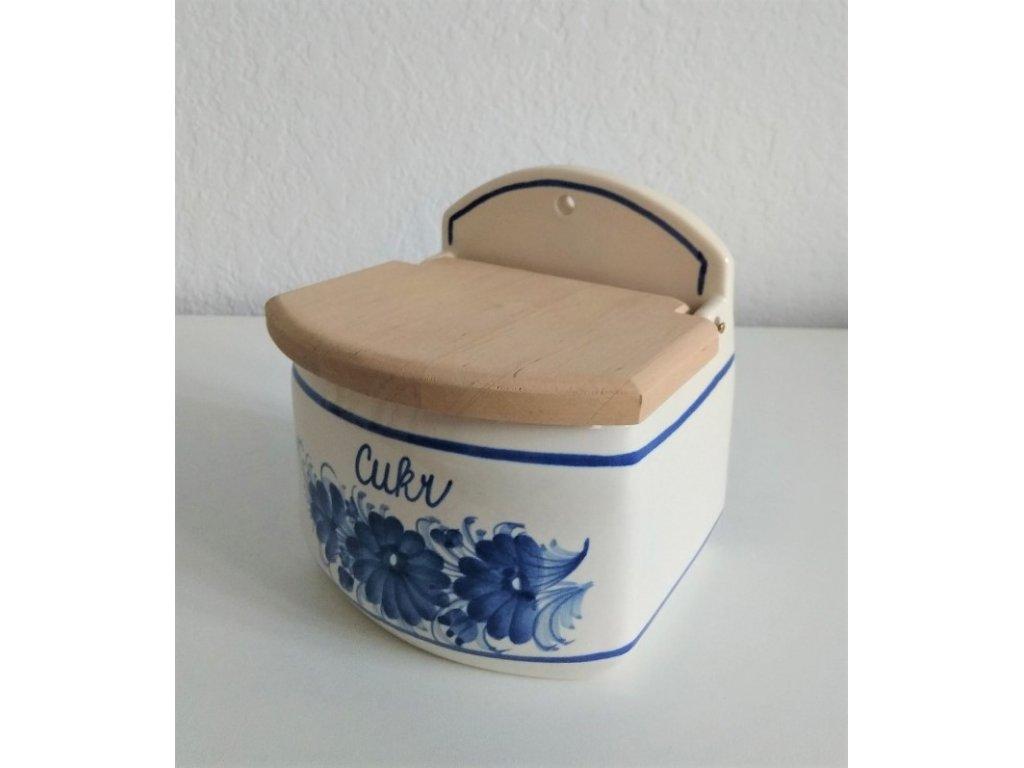 Keramický zásobník na cukr s dřevěným poklopem
