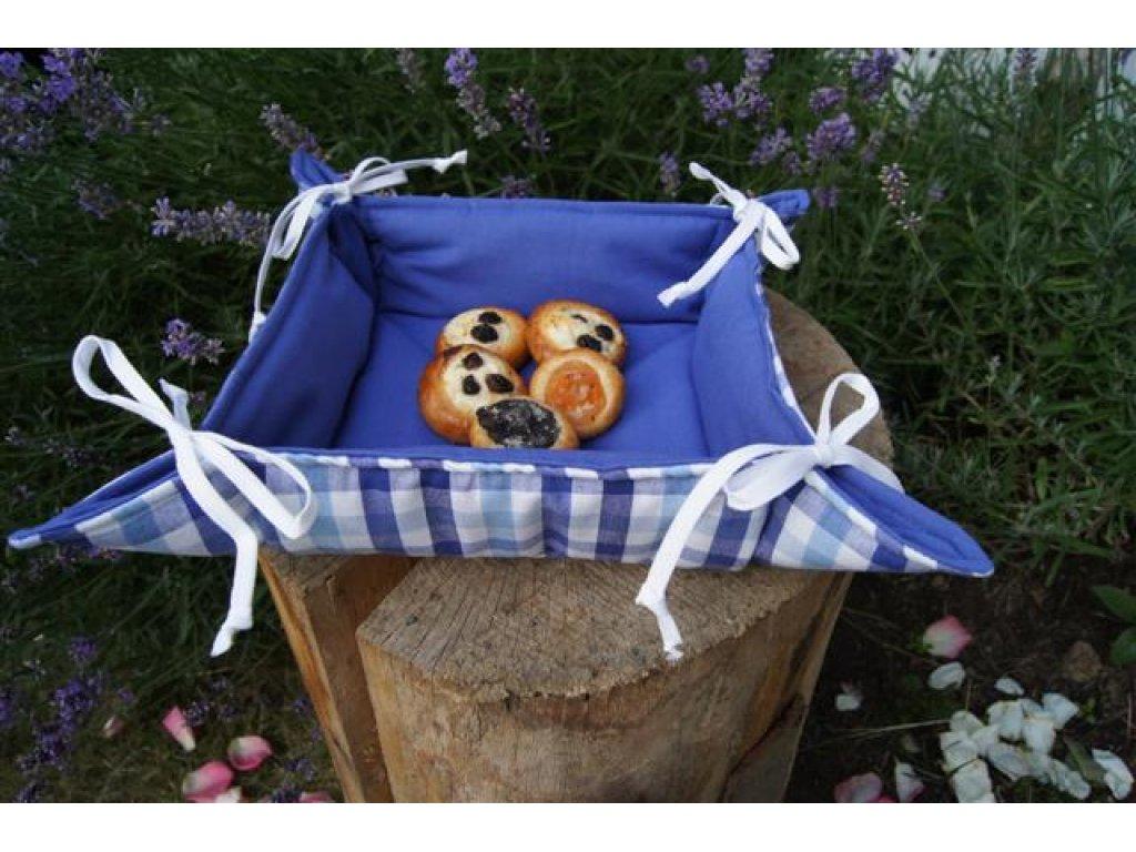 Košíček kanafas, na pečivo, Majka K, modrá a bílá, pruhy,35x35/6 cm