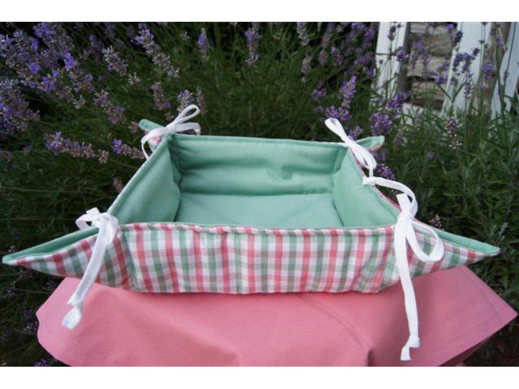 Košíček kanafas, na pečivo, Nikola 0,5 , zelená+růžová, pruhy, 35x35/6 cm
