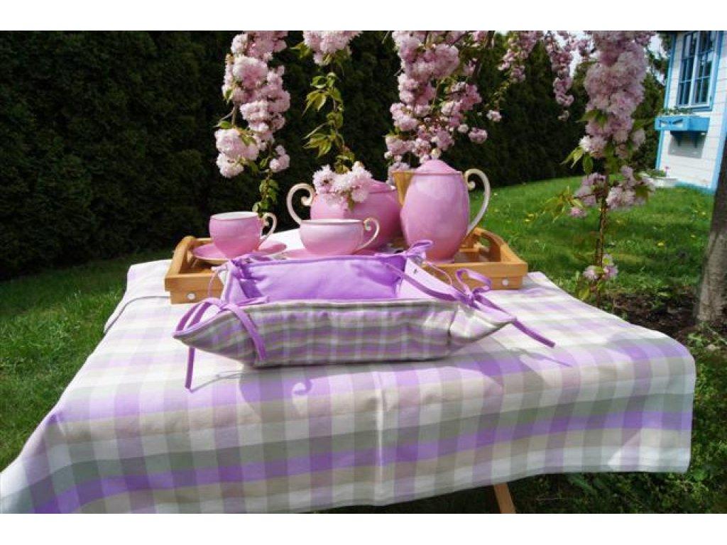 Košíček kanafas, na pečivo, Viola 0,5, lila+bílá, malá kostka, 35x35/6 cm