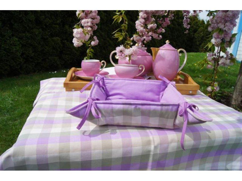 Košíček kanafas, na pečivo, Viola K2, líla+bílá, velká kostka, 35x35/6 cm