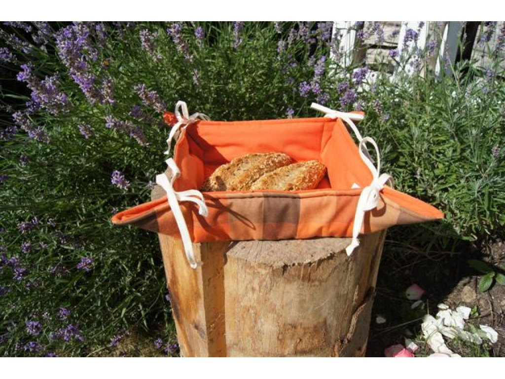 Košíček kanafas, na pečivo, Zbyněk 3,5 oranžová kostka, 35x35/6 cm