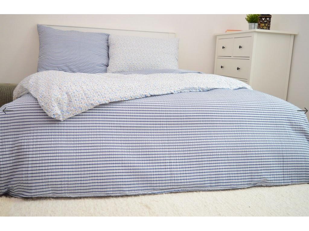 Krepové povlečení 140x200 - Kvítky + Pruhy modrá
