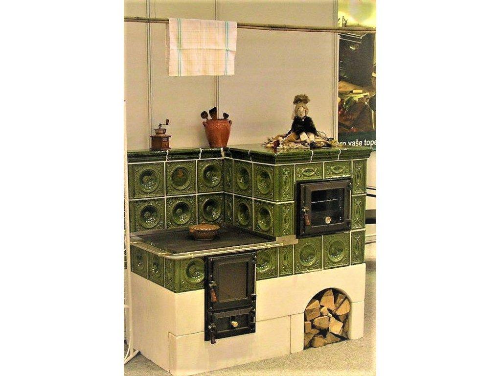 Kuchyňská kachlová kamna Karel, zelená