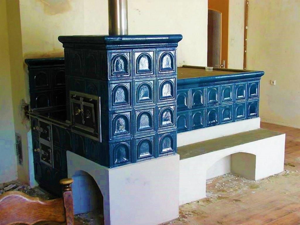 Kuchyňská kachlová kamna s ležením Aleš, tmavomodrá