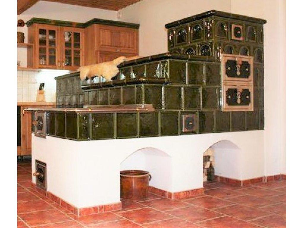 Kuchyňská kachlová kamna s ležením Zbyněk, zelená