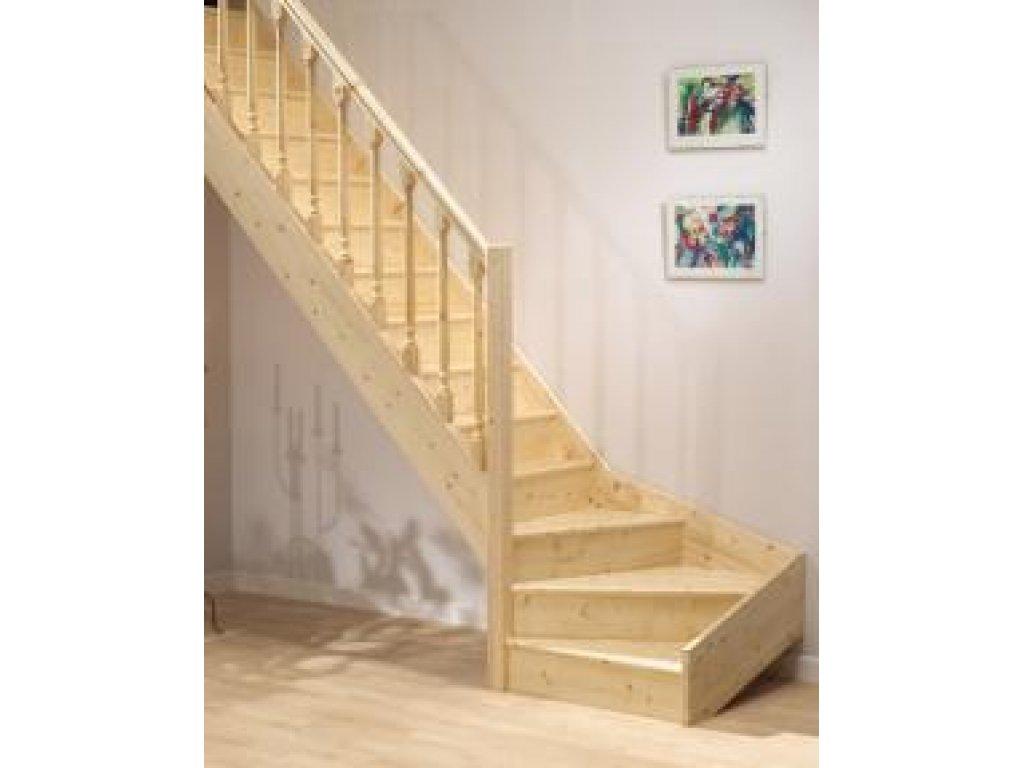 Mlynářské dřevěné schody 1/4 zatočení - smrk - F.