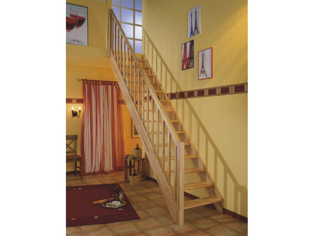 Mlynářské dřevěné schody přímé bez podstupnic - buk - A.