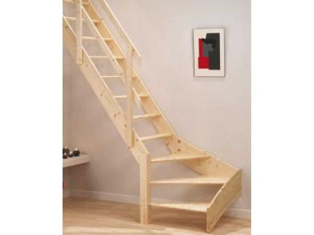 Mlynářské dřevěné schody zatočené - levé nebo pravé - smrk -  A.