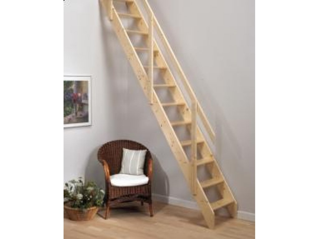 Mlynářské schody dřevěné smrk - A.