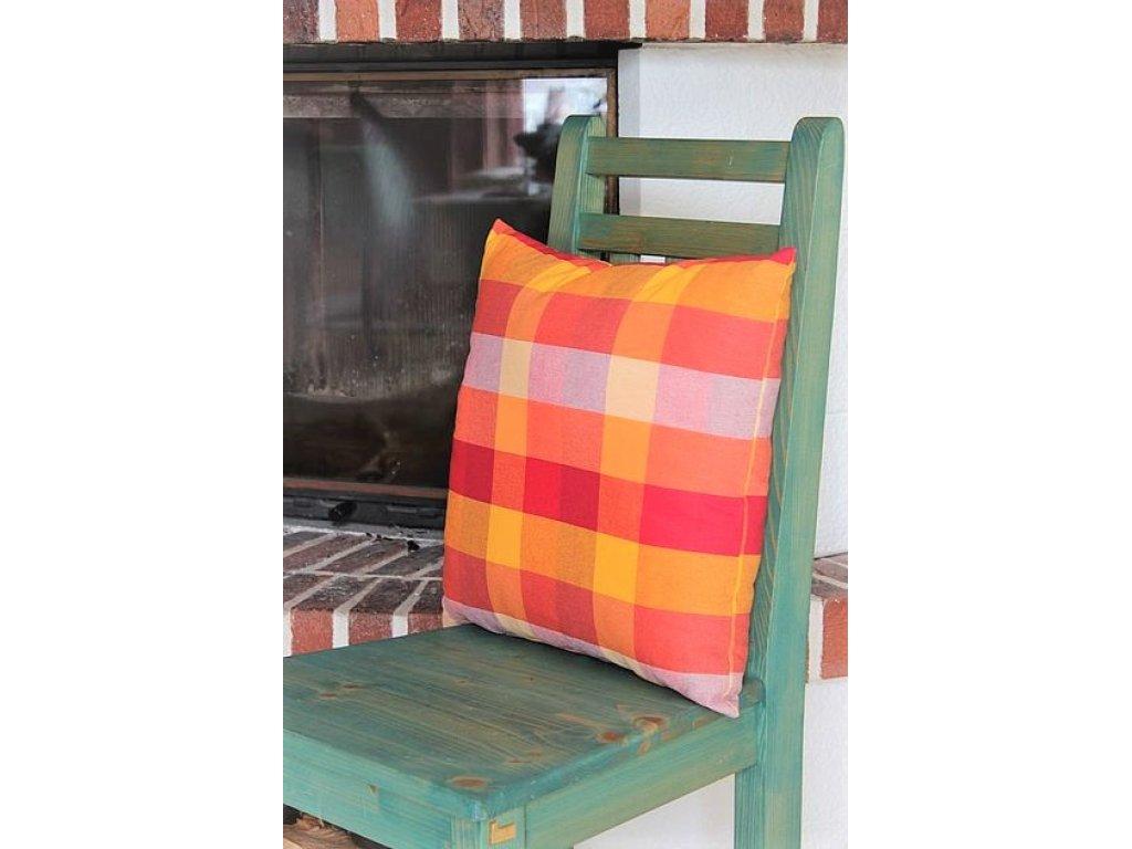 Ozdobný polštářek z kanafasu, Andrea 5, červeno-oranžovo-žlutá kostka, 40x40 cm