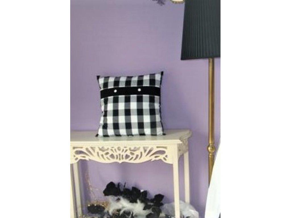 Ozdobný polštářek z kanafasu, černo-bílá kostka +černý pruh, 40x40 cm