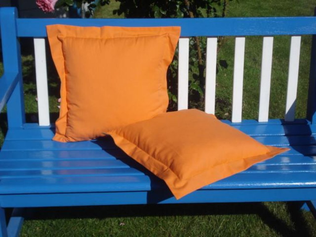 Ozdobný polštářek z kanafasu s lemem, oranžový, 40x40 cm