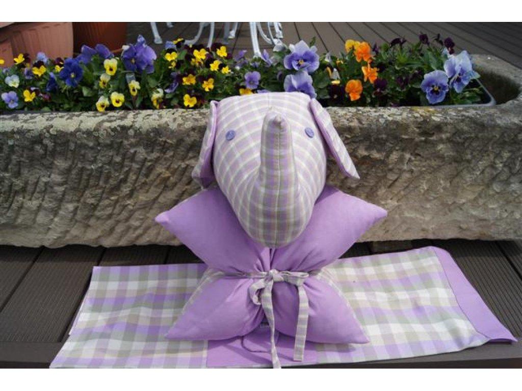 Polštářek z kanafasu Viola K2, slon,  fialová+kostky, 40x40 cm