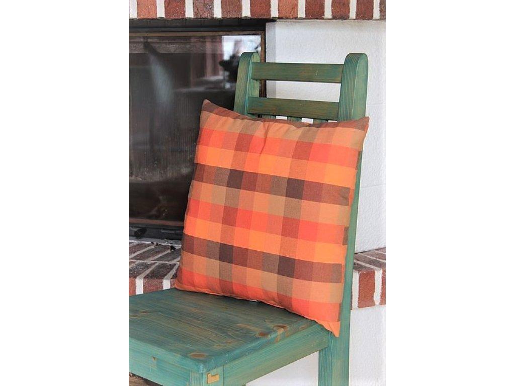 Polštářek z kanafasu, Zbyněk K 3,5  oranžové kostky, 40x40 cm