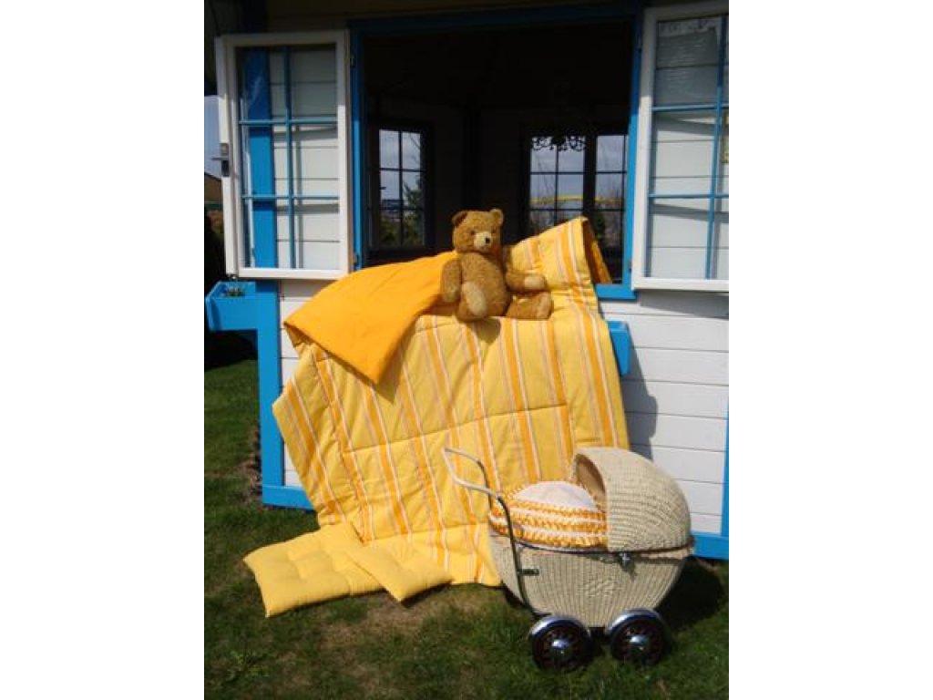 Přehoz na postel Laura, pruh+zlatá 140x200 , bavlna, kanafas