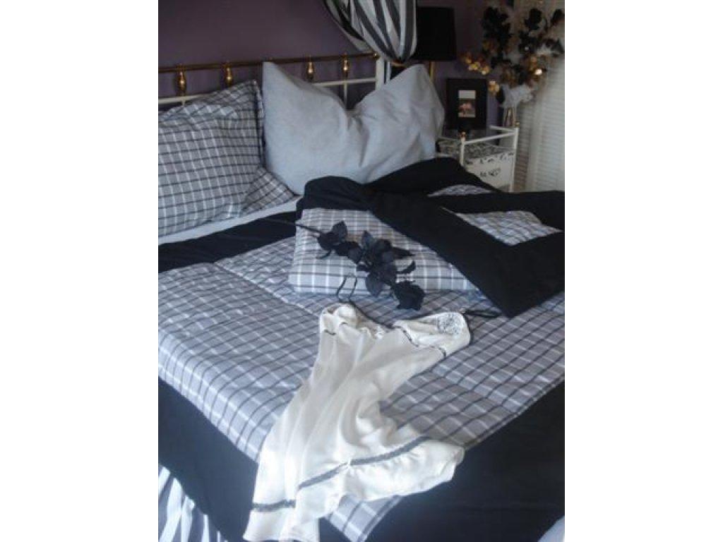 Přehoz na postel Šimon mřížka+černý okraj prodloužený,140x220 cm,bavlna,kanafas