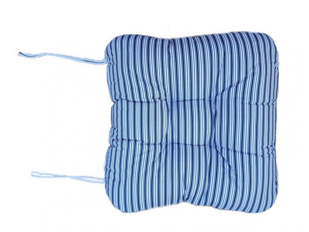 SEDÁK NA KŘESLO - pruhy modré 50x50 cm