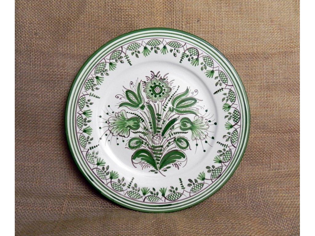 Talíř keramický, zeleno-bílý