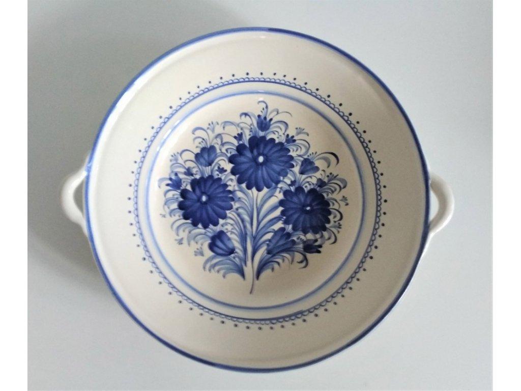 Talíř s uchy modré květy