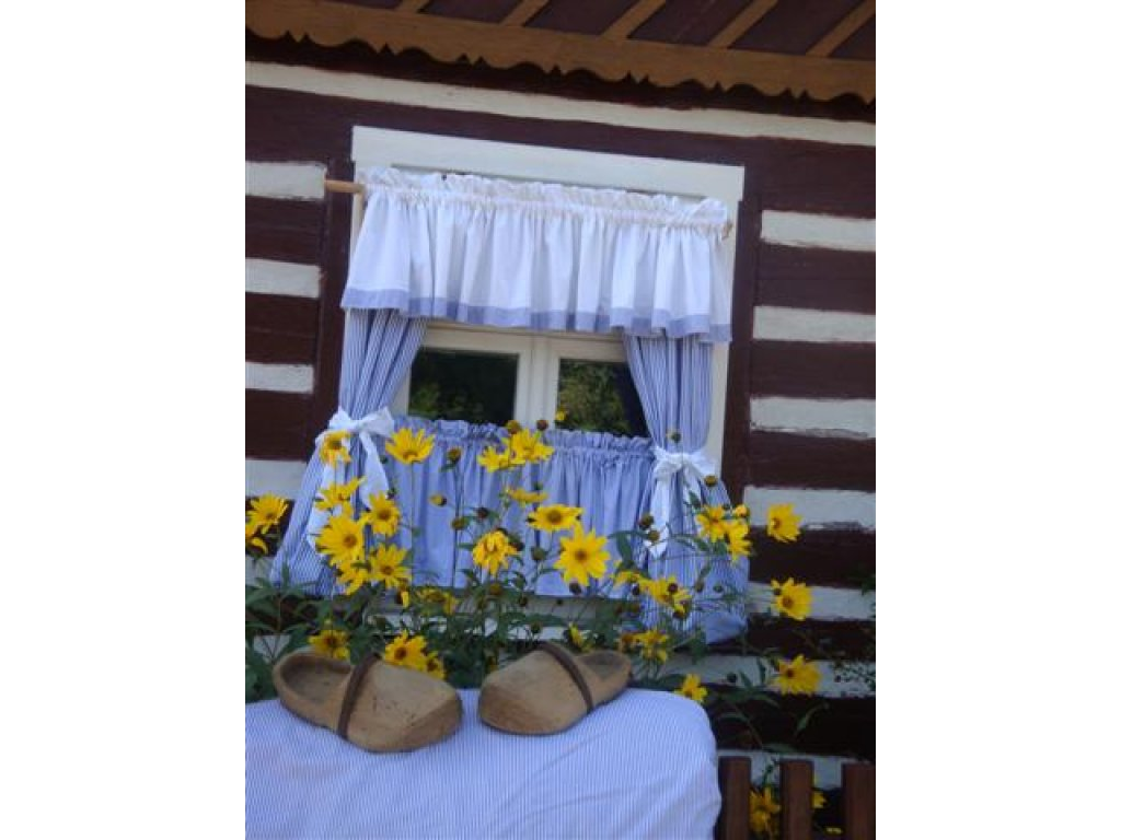 Závěs a záclonka do okna Jiřina 1+bílá, 100x110 cm