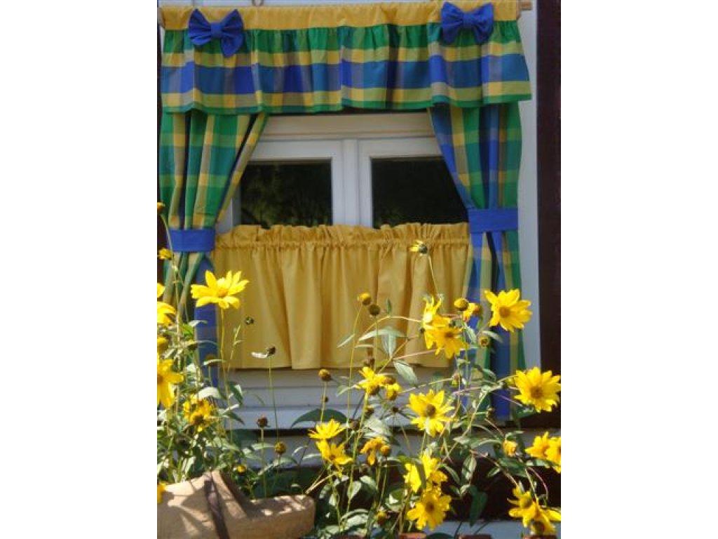 Závěs a záclonka do okna Mirka+žlutá, 100x110 cm