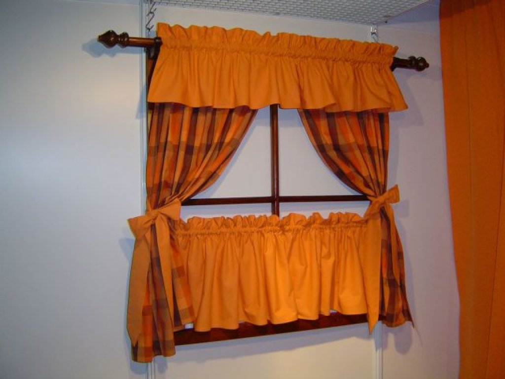 Závěs a záclonka do okna Zbyněk+oranž, 100x110 cm