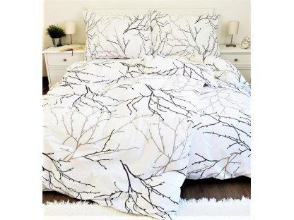 Bavlněné povlečení 200x140 - větvičky bílé