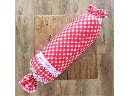 Bavlněný polštář - váleček - kanafas červený