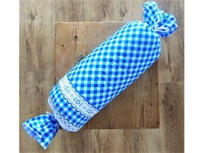 Bavlněný polštář - váleček - kanafas modrý
