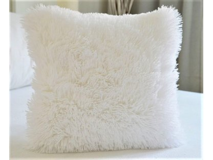 Chlupatý polštář 40x40 - bílý