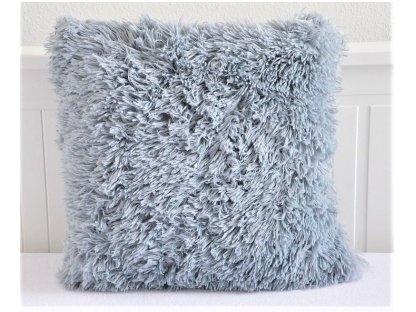 Chlupatý polštář šedý - 40x40