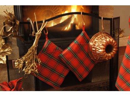 Chňapka čtvercová Zuzana, červeno-zelená, kanafas-vánoční