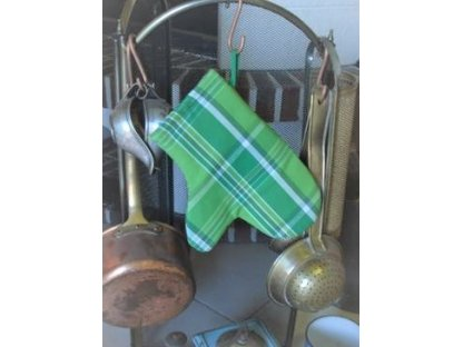 Chňapka Zorina kostka, zelená pruhovaná, kanafas
