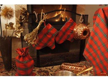 Chňapka Zuzana vánoční, červeno-zelená, kanafas