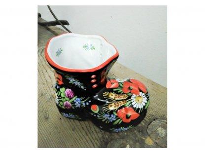 Chodská dekorativní keramická bota - černá