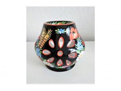 Chodská keramická aroma lampa, černá, barevné květy
