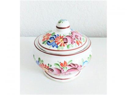 Chodská keramická cukřenka malá s motivem květ