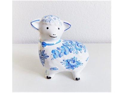 Chodská keramická ovečka - malovaná modře