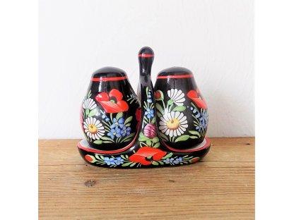 Chodská keramická solnička a pepřenka - černá malovaná