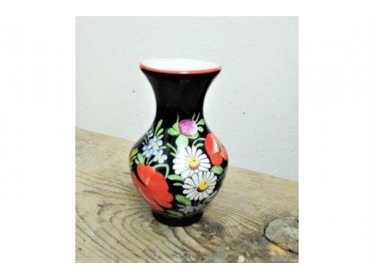 Chodská keramická vázička, barevné květy - černá