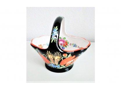 Chodský keramický košíček, černý s květinami