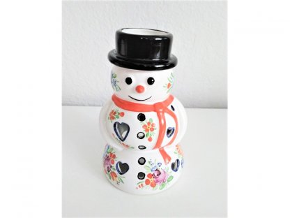 Chodský keramický Sněhulák, aroma lampa, barevně malovaný