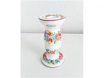 Chodský keramický svícen vysoký, barevné květy 1.