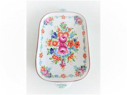 Chodský keramický tác široký, barevné květy
