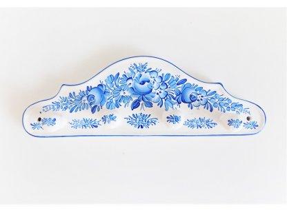 Chodský keramický věšáček - modře malovaný - 2.